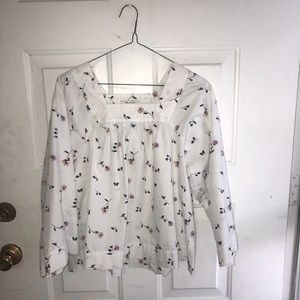 Madewell Cotton Blouse size XS Bell Sleeve